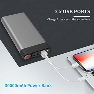 Externer Akku 30000mAh Powerbanks Mobiles Portable Ladegerät Die kann Nicht nur Ihr Handy Aufladen sondern sie ist auch kompatibel mit Spielkonsole ( Grau_30000mAh) - 3