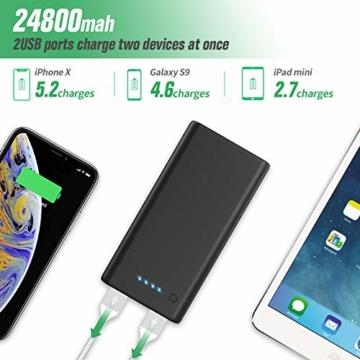 Feob Powerbank - Neuester Intelligent Steuerung-IC Externer Akku 24800mAh Ultra-Hohe Kapazität Power Bank Power Pack Schnellladung Ladegerät Akku Pack für iPhone, iPad, Samsung Galaxy und mehr - 2