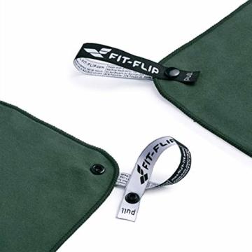 Fit-Flip Sporthandtuch, Reisehandtuch, Microfaser-Badetuch, XXL Strandhandtuch, Sauna Microfaser Handtuch groß (100x200cm Olive) - 6