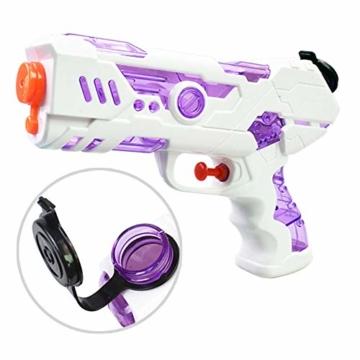 FLORMOON 2 Stücke Wasserpistole 250ml Wasserspielzeug Kunststoff Spielzeug im Freien Sommerspaß Spielzeug für Kleinkinder Jungen Mädchen(Blau & Pink) - 3