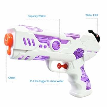 FLORMOON 2 Stücke Wasserpistole 250ml Wasserspielzeug Kunststoff Spielzeug im Freien Sommerspaß Spielzeug für Kleinkinder Jungen Mädchen(Blau & Pink) - 4