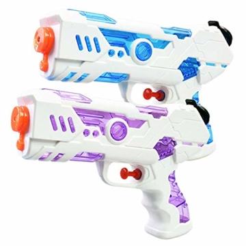 FLORMOON 2 Stücke Wasserpistole 250ml Wasserspielzeug Kunststoff Spielzeug im Freien Sommerspaß Spielzeug für Kleinkinder Jungen Mädchen(Blau & Pink) - 1