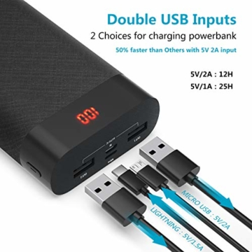 FOXONU 26800mAh Powerbank, Externer Akku Mit LED Digital Display Power Bank, Hohe Kapazität mit 2 Eingänge und 2 USB Ausgänge für Handy, iPhone, iPad, Samsung Galaxy und Tablet - 4