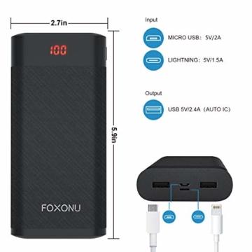 FOXONU 26800mAh Powerbank, Externer Akku Mit LED Digital Display Power Bank, Hohe Kapazität mit 2 Eingänge und 2 USB Ausgänge für Handy, iPhone, iPad, Samsung Galaxy und Tablet - 5