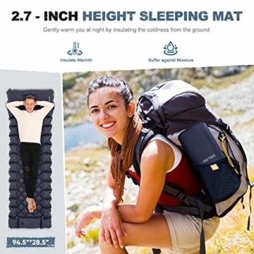 FRETREE Isomatte Camping Selbstaufblasbare - Aufblasbare, leichte Rucksackunterlage für Wanderungen zum Wandern auf Reisen, langlebige, wasserdichte, kompakte Wanderunterlage mit Luftmatratze - 2