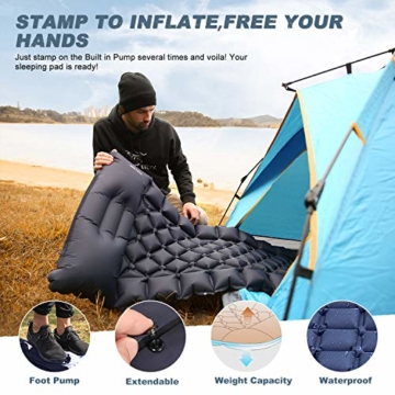 FRETREE Isomatte Camping Selbstaufblasbare - Aufblasbare, leichte Rucksackunterlage für Wanderungen zum Wandern auf Reisen, langlebige, wasserdichte, kompakte Wanderunterlage mit Luftmatratze - 3
