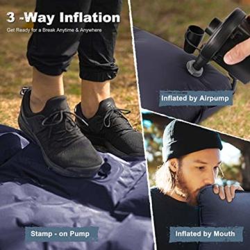FRETREE Isomatte Camping Selbstaufblasbare - Aufblasbare, leichte Rucksackunterlage für Wanderungen zum Wandern auf Reisen, langlebige, wasserdichte, kompakte Wanderunterlage mit Luftmatratze - 4
