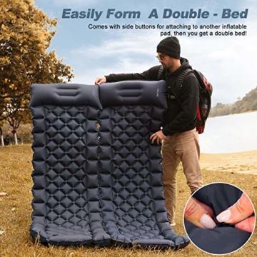 FRETREE Isomatte Camping Selbstaufblasbare - Aufblasbare, leichte Rucksackunterlage für Wanderungen zum Wandern auf Reisen, langlebige, wasserdichte, kompakte Wanderunterlage mit Luftmatratze - 5
