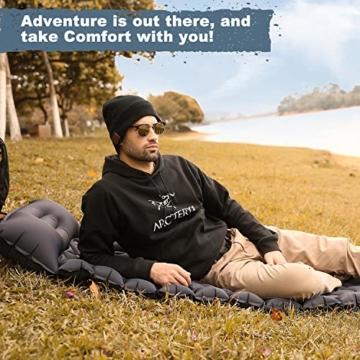 FRETREE Isomatte Camping Selbstaufblasbare - Aufblasbare, leichte Rucksackunterlage für Wanderungen zum Wandern auf Reisen, langlebige, wasserdichte, kompakte Wanderunterlage mit Luftmatratze - 6