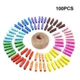 G2PLUS 100 STK Holzwäscheklammer Farbig Wäscheklammer Klammern für Fotopapier Kleiderroller mit 30 M Jute Twine - 1