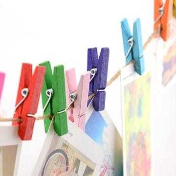 G2PLUS 100 STK Holzwäscheklammer Farbig Wäscheklammer Klammern für Fotopapier Kleiderroller mit 30 M Jute Twine - 3