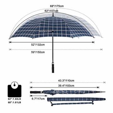 G4Free 62/68 Inch Extra Großer Golfschirm Automatisches Öffnen Übergroße Winddichte wasserdichte Haltbare Regenschirme für Herren und Damen - 2