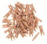 Glorex 6 2200 651 - Wäscheklammern aus unlackiertem Birkenholz, ca. 25 mm groß, 45 Stück, ideal zum Basteln und Dekorieren, für Fotoleinen, Tischkärtchen, Grußkarten - 1