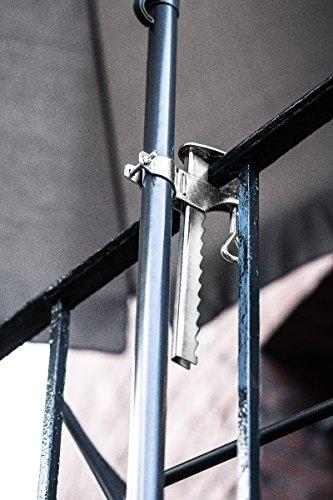 Greemotion Schirmhalterung Sonnenschirmhalterung aus Stahl, verzinkt-Balkon Schirmhalter 32mm / 25mm-Balkonschirmhalter-Sonnenschirm Balkonklammer für Balkongeländer, Silber, 1 x 1 x 1 cm - 2