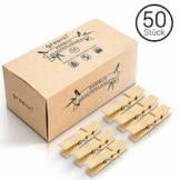 greenli 50 x Wäscheklammern aus Bambus- 6 cm - Die nachhaltige Alternative zu Holzklammern - 1