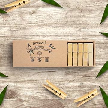 greenli 50 x Wäscheklammern aus Bambus- 6 cm - Die nachhaltige Alternative zu Holzklammern - 3
