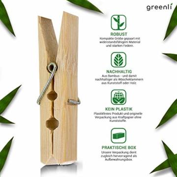 greenli 50 x Wäscheklammern aus Bambus- 6 cm - Die nachhaltige Alternative zu Holzklammern - 4