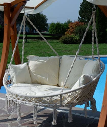 Hängesessel Hängelounger Doppellounger Lounge für 2 Personen Maui mit vielen Kissen klappbar inkl. Hollywoodschaukel - Gestell Aruba mit Dach von AS-S - 4