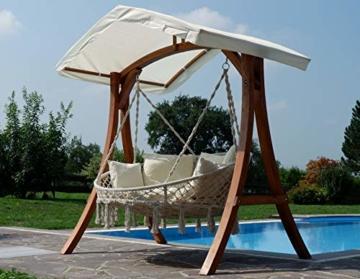 Hängesessel Hängelounger Doppellounger Lounge für 2 Personen Maui mit vielen Kissen klappbar inkl. Hollywoodschaukel - Gestell Aruba mit Dach von AS-S - 6