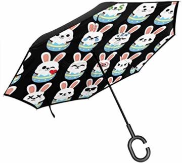 Häschen-Osterei Emoji-Rückseiten-Regenschutz-Auto-Rückseiten-Regenschirme - 1