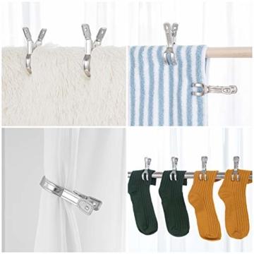 HB life 12 Stück kleine Wäscheklammern aus Edelstahl Handtuchklemmen Strandtuchklammern Handtücher Towel Clips für Tägliche Wäsche, Strandtuch, Badetuch, Bettwäsche und Dicke Kleidung(12Pcs) - 5