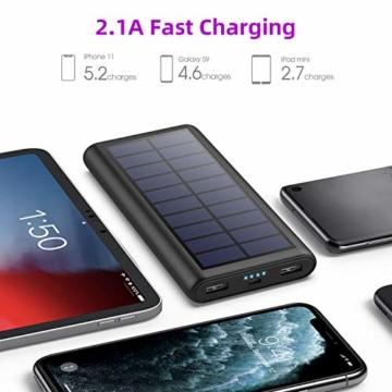 HETP Solar Powerbank 26800mAh, 【2020 Neuestes Solarladegerät 】 Externer Akku Tragbares Ladegerät Akkupack mit 2 Ausgängen Hohe Kapazitat Power Bank Backup Kompatibel mit Smartphones, Tablets und mehr - 3