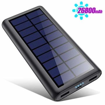 HETP Solar Powerbank 26800mAh, 【2020 Neuestes Solarladegerät 】 Externer Akku Tragbares Ladegerät Akkupack mit 2 Ausgängen Hohe Kapazitat Power Bank Backup Kompatibel mit Smartphones, Tablets und mehr - 1