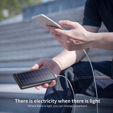 HETP Solar Powerbank 26800mAh, 【2020 Neuestes Solarladegerät 】 Externer Akku Tragbares Ladegerät Akkupack mit 2 Ausgängen Hohe Kapazitat Power Bank Backup Kompatibel mit Smartphones, Tablets und mehr - 7