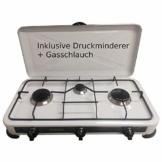 Hochwertiger 3 flammiger Camping Gaskocher Campingkocher / Lieferung inklusive 80cm Anschlussschlauch und Druckminderer! - 1