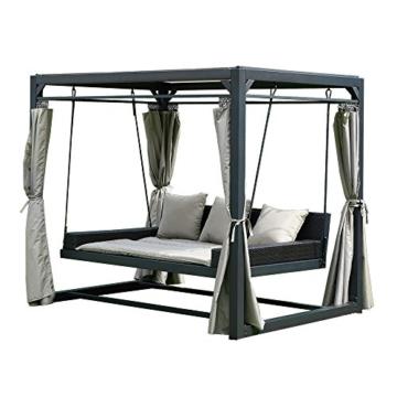 Home Deluxe - Sonnenliege Pavillon Provence - Schwebendes Rattanbett inkl. schließbare Vorhänge   Hollywoodschaukel, Doppel-Gartenliege, Lounge-Pavillon - 2