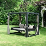 Home Deluxe - Sonnenliege Pavillon Provence - Schwebendes Rattanbett inkl. schließbare Vorhänge | Hollywoodschaukel, Doppel-Gartenliege, Lounge-Pavillon - 1