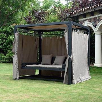Home Deluxe - Sonnenliege Pavillon Provence - Schwebendes Rattanbett inkl. schließbare Vorhänge   Hollywoodschaukel, Doppel-Gartenliege, Lounge-Pavillon - 3