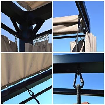 Home Deluxe - Sonnenliege Pavillon Provence - Schwebendes Rattanbett inkl. schließbare Vorhänge   Hollywoodschaukel, Doppel-Gartenliege, Lounge-Pavillon - 4