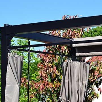 Home Deluxe - Sonnenliege Pavillon Provence - Schwebendes Rattanbett inkl. schließbare Vorhänge   Hollywoodschaukel, Doppel-Gartenliege, Lounge-Pavillon - 6