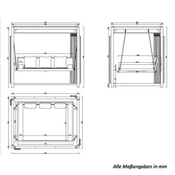 Home Deluxe - Sonnenliege Pavillon Provence - Schwebendes Rattanbett inkl. schließbare Vorhänge   Hollywoodschaukel, Doppel-Gartenliege, Lounge-Pavillon - 7