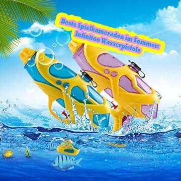 infinitoo 2 Stück Wasserpistole Spritzpistolen Set 200ml Water Gun mit 8-10 Meter Reichweite Blaster Spielzeug für Kinder Party Strand Pool etc. - 2