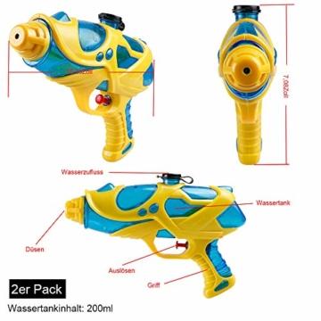 infinitoo 2 Stück Wasserpistole Spritzpistolen Set 200ml Water Gun mit 8-10 Meter Reichweite Blaster Spielzeug für Kinder Party Strand Pool etc. - 3