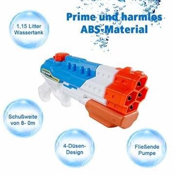 infinitoo Wasserpistole Spritzpistole 4 Düsen Water Gun mit 1,15 Liter Wassertank, 8-10 Meter Reichweite Blaster Spielzeug für Kinder, Erwachsene Party Garten Strand Pool etc. - 2