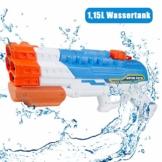 infinitoo Wasserpistole Spritzpistole 4 Düsen Water Gun mit 1,15 Liter Wassertank, 8-10 Meter Reichweite Blaster Spielzeug für Kinder, Erwachsene Party Garten Strand Pool etc. - 1
