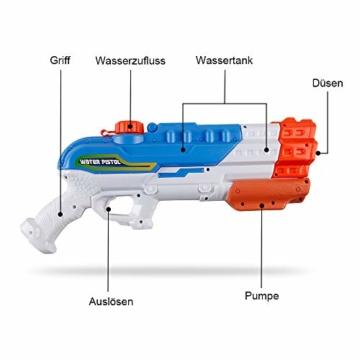 infinitoo Wasserpistole Spritzpistole 4 Düsen Water Gun mit 1,15 Liter Wassertank, 8-10 Meter Reichweite Blaster Spielzeug für Kinder, Erwachsene Party Garten Strand Pool etc. - 3