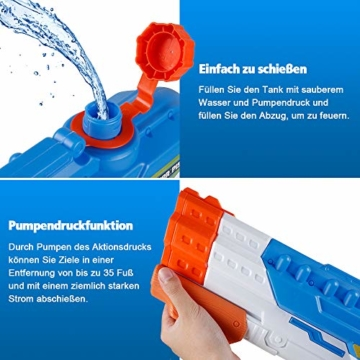 infinitoo Wasserpistole Spritzpistole 4 Düsen Water Gun mit 1,15 Liter Wassertank, 8-10 Meter Reichweite Blaster Spielzeug für Kinder, Erwachsene Party Garten Strand Pool etc. - 4
