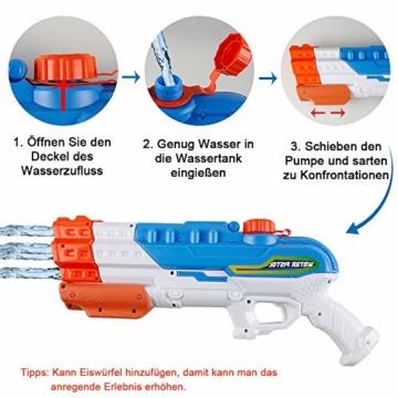 infinitoo Wasserpistole Spritzpistole 4 Düsen Water Gun mit 1,15 Liter Wassertank, 8-10 Meter Reichweite Blaster Spielzeug für Kinder, Erwachsene Party Garten Strand Pool etc. - 5