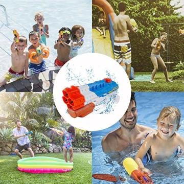 infinitoo Wasserpistole Spritzpistole 4 Düsen Water Gun mit 1,15 Liter Wassertank, 8-10 Meter Reichweite Blaster Spielzeug für Kinder, Erwachsene Party Garten Strand Pool etc. - 6