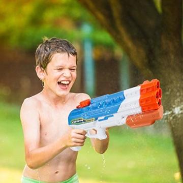 infinitoo Wasserpistole Spritzpistole 4 Düsen Water Gun mit 1,15 Liter Wassertank, 8-10 Meter Reichweite Blaster Spielzeug für Kinder, Erwachsene Party Garten Strand Pool etc. - 7