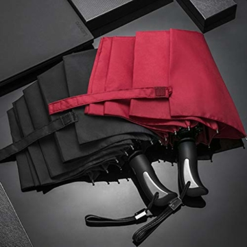 joyMerit Kompakter Regenschirm Einfarbiger winddichter Reiseschirm Regen- und windabweisend Kompakt und leicht für Geschäftsreisende und Reisende - Schwarz - 2