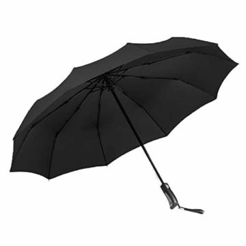joyMerit Kompakter Regenschirm Einfarbiger winddichter Reiseschirm Regen- und windabweisend Kompakt und leicht für Geschäftsreisende und Reisende - Schwarz - 1