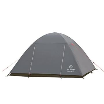JUSTCAMP Campingzelt Austin 4, Kuppelzelt, Doppelwandig, 4 Personen - grau, Iglu Zelt, Festival, Ausflug, Reise - 3