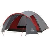 JUSTCAMP Campingzelt Carson 4, Kuppelzelt, 4 Personen - grau, Iglu Zelt, 2 Eingänge, Vorraum, Festival, Campingausflug - 1