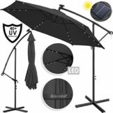 Kesser® Alu Ampelschirm LED Solar Ø350cm + Abdeckung mit Kurbelvorrichtung UV-Schutz Aluminium mit An-/Ausschalter Wasserabweisend - Sonnenschirm Schirm Gartenschirm Marktschirm Anthrazit - 1