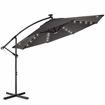 Kesser® Alu Ampelschirm Ø 300 cm LED mit An-/Ausschalter Solarpanel Kurbelvorrichtung UV-Schutz Aluminium Wasserabweisende Bespannung - Sonnenschirm Schirm Gartenschirm Marktschirm Grau - 3